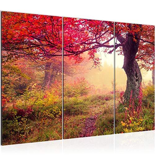 Bilder Herbst Wald Wandbild 120 x 80 cm Vlies - Leinwand Bild XXL Format Wandbilder Wohnzimmer Wohnung Deko Kunstdrucke Rosa 3 Teilig - MADE IN GERMANY - Fertig zum Aufhängen 611631a