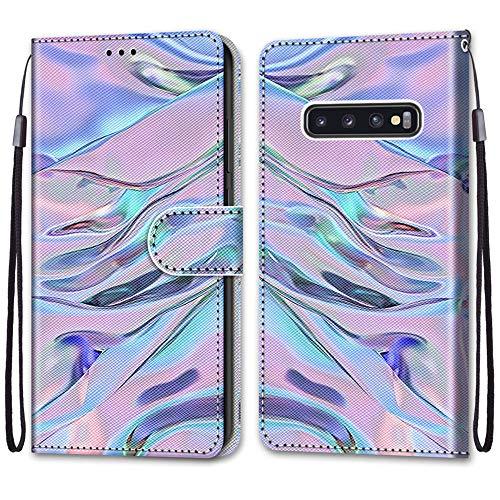 Nadoli Handyhülle Leder für Samsung Galaxy S10 Plus,Bunt Bemalt Fluoreszierend Wasser Trageschlaufe Kartenfach Magnet Ständer Schutzhülle Brieftasche Ledertasche Tasche Etui