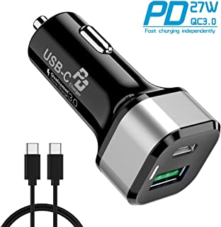 45W USB C Car Charger - Quntis Dual USB PD Car Charger with 27W Power Delivery & 18W Quick Charge 3.0 Port, Fit for iPhone 11 Pro Max XR X, iPad Pro 2018, Samsung Google (2.6ft C to C Cable Included)
