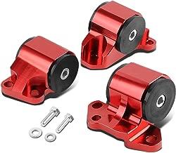 For Honda Civic/Acura Integra B & D Series MT 3pcs Billet Aluminum 2-Bolt Engine Mount Kit (Red)