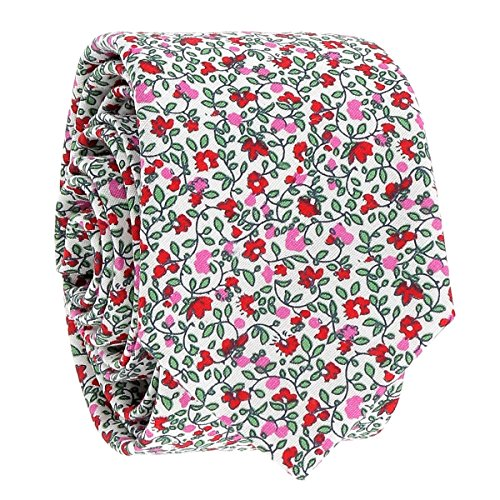 Cravate, Noeud Papillon et Pochette Costume Liberty Rose Fleurs (Cravate)