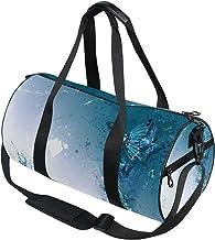 DEZIRO Blauwe Abstracte Vlinders Sport Duffle Bag Drum Sporttas