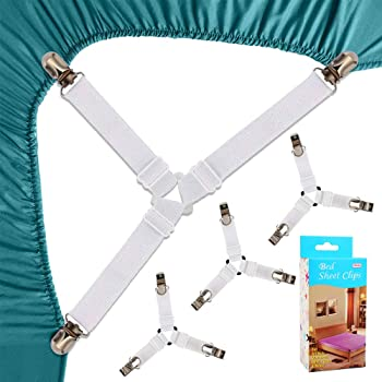 Felly Bed Sheet Clips 4 Pack Triangle Bed Sheet Straps ...