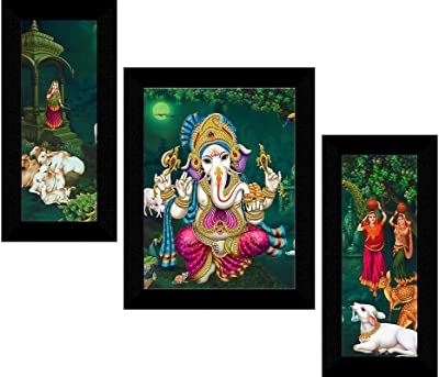 SAF Set of 3 Dancing Ganesha modern art UV Textured Wall painting for Home Decoration Gift Item 13.5 inch X 22.5 inch SANFS31586