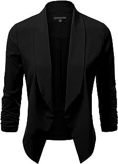 JJ Perfection Women's Lightweight Chiffon Ruched Sleeve Open-Front Blazer Black S