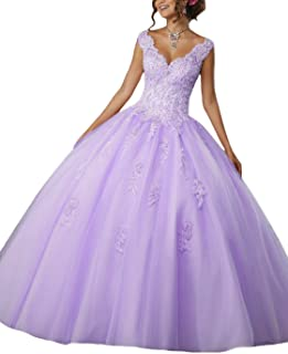 Girl's V-Neck Beading Lace Quinceanera Dresses Sweet 16 Appliques Prom Ball Gown P110