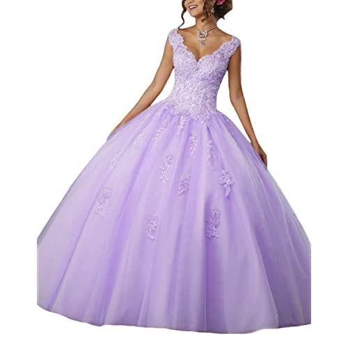 a4813e16227 LOVING HOUSE Girl s V-Neck Beading Lace Quinceanera Dresses Sweet 16  Appliques Prom Ball Gown