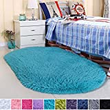 Noahas Ultra Soft Velvet Bedroom Rugs Kids Room Carpet Modern Shaggy Area Rugs Home Decor 2.6' X 5.3', Blue
