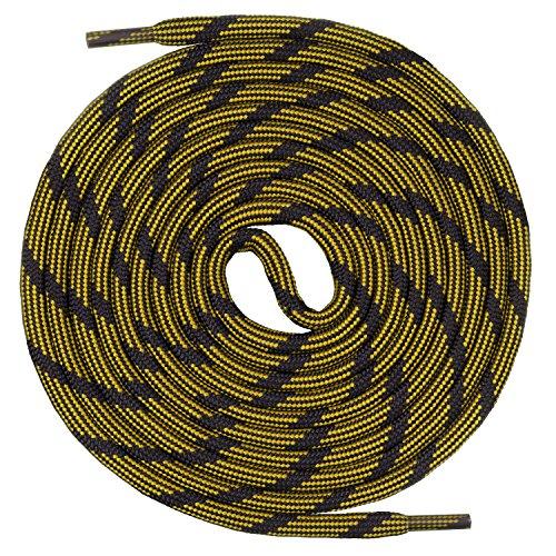 Mount Swiss runde Schnürsenkel für Wanderschuhe, Trekkingschuhe und Arbeitsschuhe - extra reißfest - ø 5 mm Farbe Schwarz-Gelb-m2 Länge 110cm