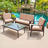 BELLEZE 4PC Outdoor Patio Set Furniture UV Resistant Lounge Cushions Wicker Love Seat Glass Coffee Table Chair, Brown