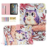 Dteck Case for (10th Generation, 2020 Release) All-New Fire HD 8 /Fire HD 8 Plus Tablet - 3D Cartoon Print Magnetic Closure Smart Stand Wallet Folio Cute Cover with Auto Wake Sleep (Purple Owls)
