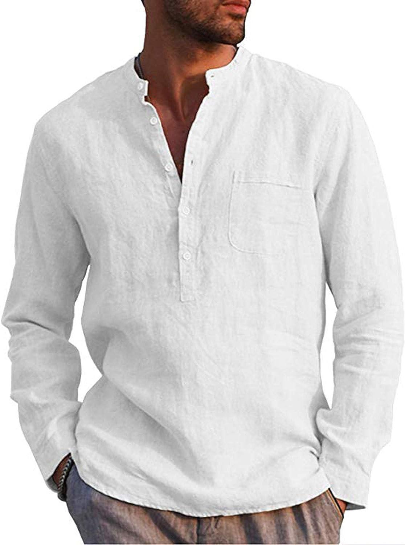 AUDATE Mens Cotton Linen Shirt Casual Long Sleeve Henley Shirt Solid Tops