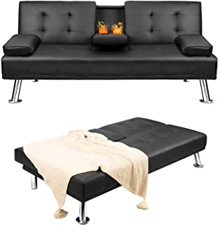 Pawnova Futon Sofa Bed, Modern Faux Leather Convertible Folding Lounge Couch for Living Room with 2 Cup Holders Removable ...