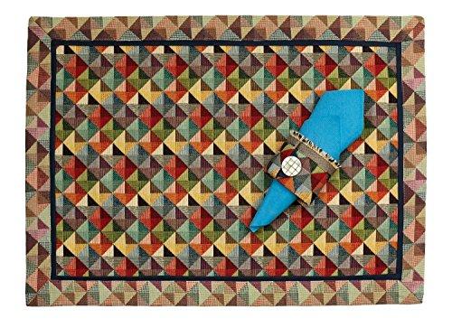 Platzdeckchen Tischset Platzset mit Serviettenring Gobelin Multicolor mit blau 45 x 33 cm