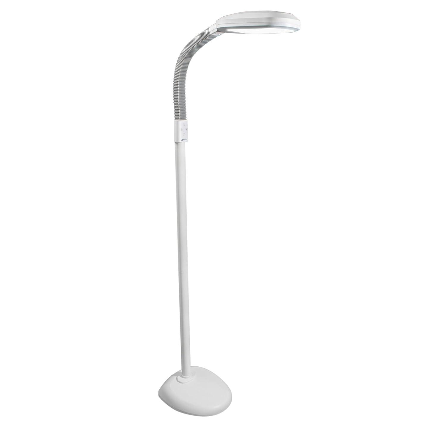 Verilux Original SmartLight LED Floor Lamp Full Spectrum Energy-Efficient Natural Light for Reading, Artists, Crafts Dimmable - Adjustable Gooseneck Task Light