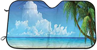 ZBCHAKMN36 ZCBBAWBFVZ14 Windshield Sunshade for Car,Palm Tree Leaves in The Tropical Sand Beach Sea Landscape Theme Graphic Print,Front Window Sun Shade Visor Shield Cover(27.5 x 51)