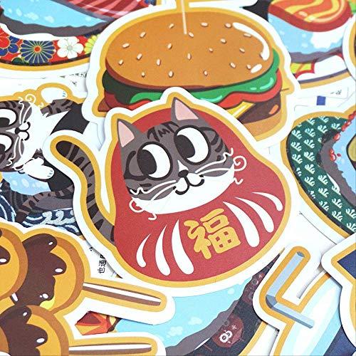 DONGJI Cute Cat Food Stickers Cartoon Cute Luggage Stickers Suitcase Laptop Stickers Waterproof 25Pcs