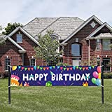 Happy Birthday Party Banner Decoration for Kids, Birthday Yard Sign for Outside ,Birthday Party Banner Backdrop Favor Supply for Indoor or Outdoor