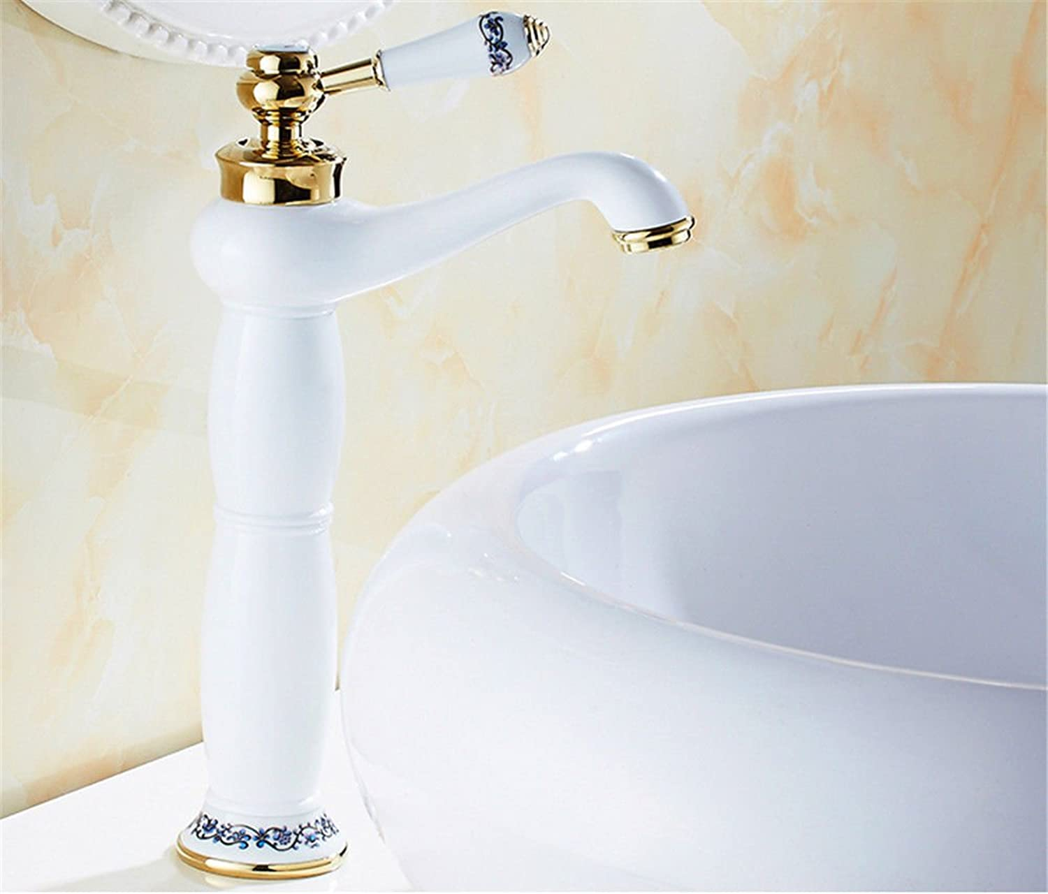 Lalaky Taps Faucet Kitchen Mixer Sink Waterfall Bathroom Mixer Basin Mixer Tap for Kitchen Bathroom and Washroom White Hot and Cold Copper
