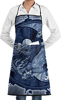 EEMNJIHH Dragon Yin Yang Symbol Personalized Apron Easy Care Full-Length Apron with Stain Release, Adult Bib Aprons