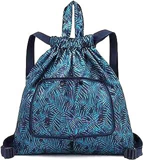 Ganghuo Sac de courses multifonctionnel pliable et portable pour femme avec cordon de serrage imprimé pour le camping et l...
