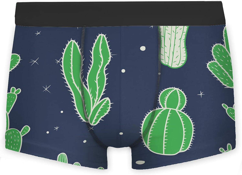 OcuteO Men's Boxer Briefs Cute Green Cactus On Indigo Blue Brief Underwear Personaliz