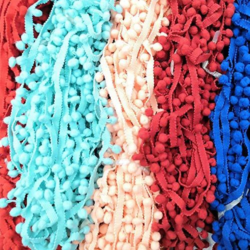 10 Yards Pom Pom Lace Trim bal 10 mm MINI Pearl Pompom Fringe lint naaien Lace Kintted stof handgemaakte DIY ambachtelijke accessoires, willekeurig sturen 10 Yard