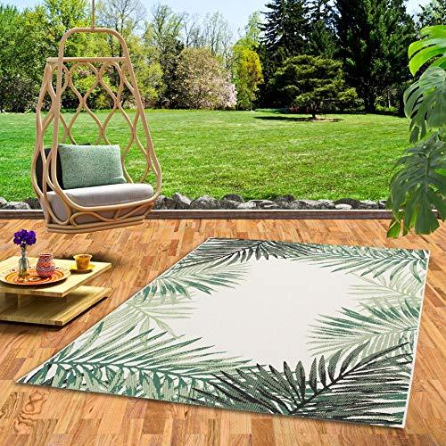 Pergamon In- und Outdoor Teppich Flachgewebe Carpetto Grün Blätter Bordüre in 5 Größen