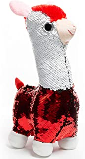 HollyHOME Sequins Alpaca Stuffed Animal Toy Reversible White and Red Sequins Alpaca Gift for Kids 12 Inches