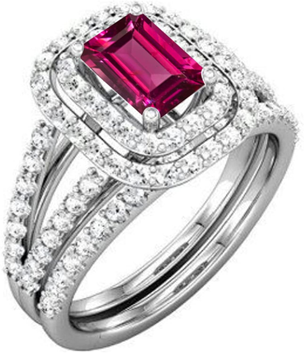 Vorra Fashion Smaragd, 925Sterling-Silber mit Rhodolite Damen Braut-Ring-Set