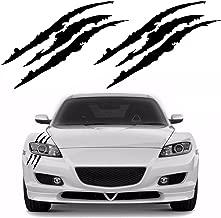 YGMONER 2PCS Claw Marks Decal Reflective Sticker for Car Headlamp (Black)