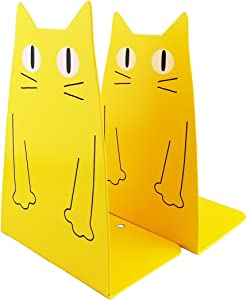TOBSON Cute Cat Heavy Duty Bookend Nonskid Bookends Art Decoration,A Pairs(Yellow)
