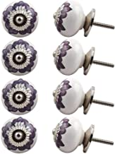Indian-Shelf Handmade Ceramic Flower Cupboard Knobs Door Pulls Kitchen Handles(Purple, 1.5 Inches)-Pack of 8