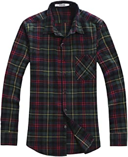 Aeslech Men's Long Sleeve Button Down Plaid Flannel Shirt