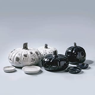 Juego de 4 calabazas de cerámica de Halloween hechas a mano, luminarias de Acción de Gracias, candelabro tallado en casa, ...
