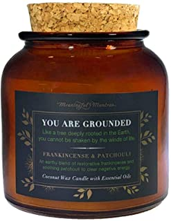 MEANINGFUL MANTRAS Frankincense & Patchouli | Luxury Essential Oil Coconut Wax Recycled Glass Jar Candle | Hand Poured in The USA Aromatherapy & Great Smell | Grounding & Relaxation | Small - 6 OZ