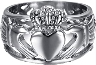 Jewelry Men's Stainless Steel Claddagh Ring with Celtic Knot Eternity Design