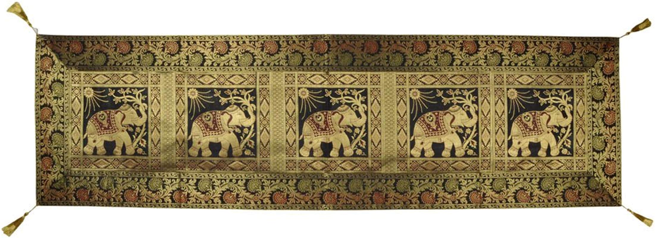 Lalhaveli Decorative Elephant Design Silk Table Runner 60 X 16 Inch Black Color