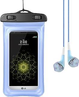 Universal PVC Transparent Clear Touch Screen Full Body Seal Waterproof Case for LG G6 / G5 / V20 / V10 / Stylo 3 Plus/Touch Screen Pen 3 / Stylo 2 V/X Venture/X Power 2 + VG Earphone Blue