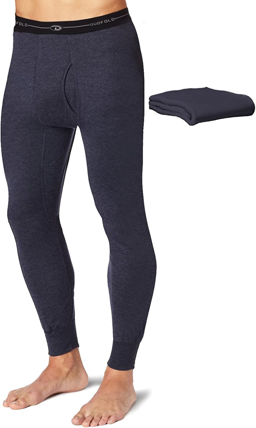 Duofold KMW2 Men's Mid Weight Wicking Thermal Pant Navy (Pack of 2)