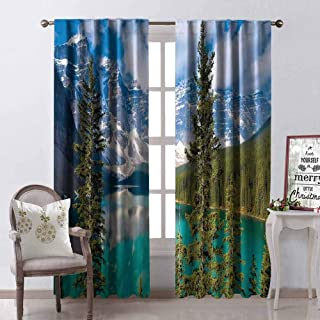 GloriaJohnson Landscape Wear-Resistant Color Curtain Moraine Lake Rocky Mountains Canada Summer Forest Tall Fresh Trees Image Waterproof Fabric W52 x L63 Inch Aqua Blue Green