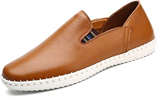 HaiNing Zheng Loafer Shoes for Men Flat Heel Moccasins Sewing Detail Sides Elastic Anti Slip Soles Perforated Options Round Toe Slip-ons Solid Color (Color : Brown, Size : 9 UK)