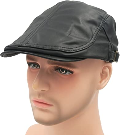 2e97f9280b7 Roffatide Classic Buckle PU Leather Newsboy Cap Driving Flat Cabby Ivy  Beret Hat
