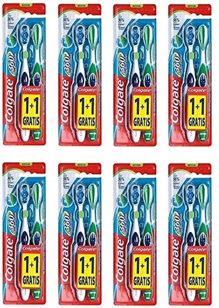 専門知識買収犯すColgate 360 Whole Mouth Clean コルゲート 歯ブラシ 16個 (2 x 8) [並行輸入品]