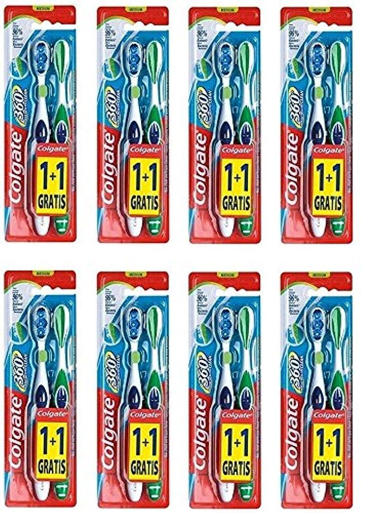 楕円形扱いやすい靴下Colgate 360 Whole Mouth Clean コルゲート 歯ブラシ 16個 (2 x 8) [並行輸入品]