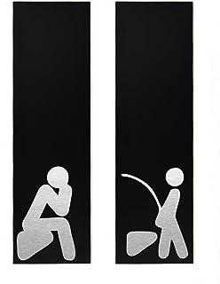 Panneau de porte de toilettes d'hôtel - Aluminium noir gravé au laser à fibre - Ensemble personnalisé moderne de deux pann...