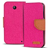 Verco Lumia 630 Hülle, Schutzhülle für Nokia Lumia 630 Tasche Denim Textil Book Hülle Flip Hülle - Klapphülle Pink