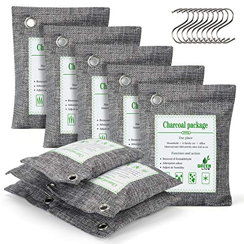 Charcoal Bags Odor Absorber,(10x 200g) Bamboo Charcoal Air Purifying Bags- Moisture Absorbers Odor Eliminator for Home Freshener ,Car,Pet, Closet.