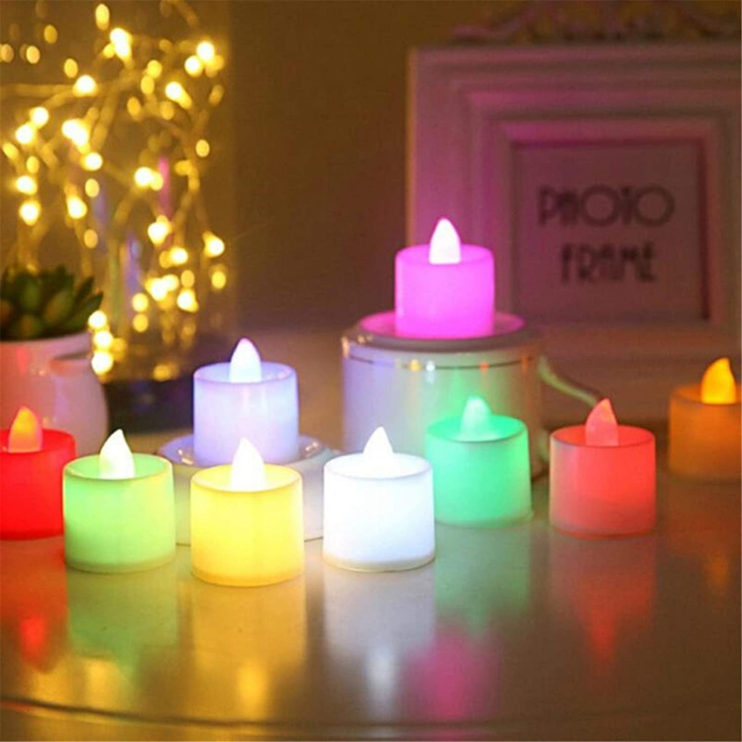 Pack of 48 LED Flameless Candle Battery Operated Flickering Electric Tea Light Candles for Bedroom Home Decorations Wedding Party Festival Halloween Pumpkin Lamp Christmas (Multiple Colour)