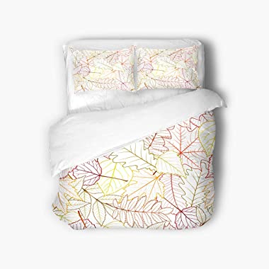 Qewhyn 3pc Duvet Cover Forest Trees Autumn Leaves White Tree Aronia Autumnal Birch Black Queen Brushed Microfiber Bedding Quilt Soft Breathable
